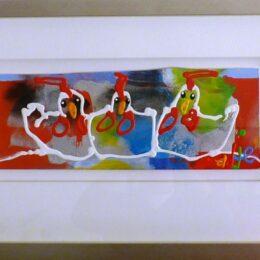 Ad Verstijnen- kipkes-72x45cm-originele-schilderijen-kleurrijk-figuratief-kunstuitleen